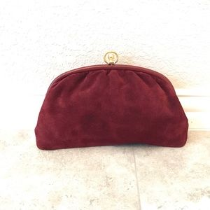 Vintage Italian suede leather kisslock clutch